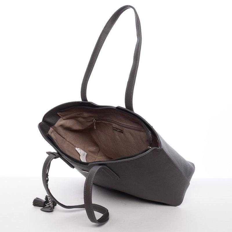 Lehká velká dámská kabelka Angela, tmavě šedá