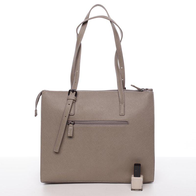 Atraktivní velká dámská kabelka Carla, šedá/krémová