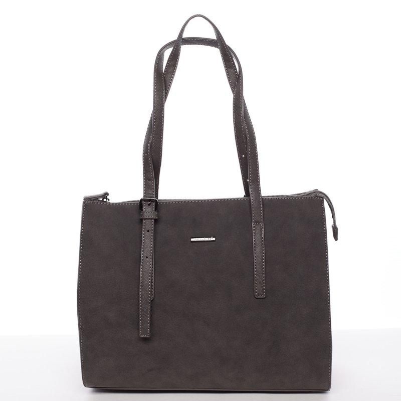 Atraktivní velká dámská kabelka Carla, tmavě šedá