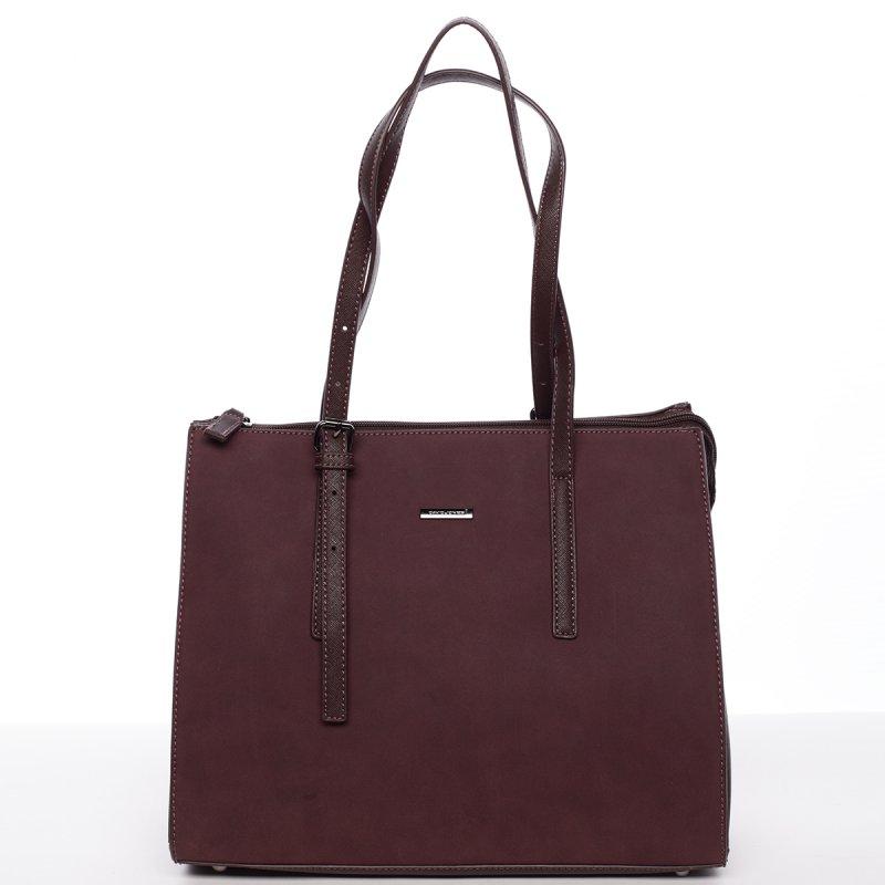 Atraktivní velká dámská kabelka Carla, vínová
