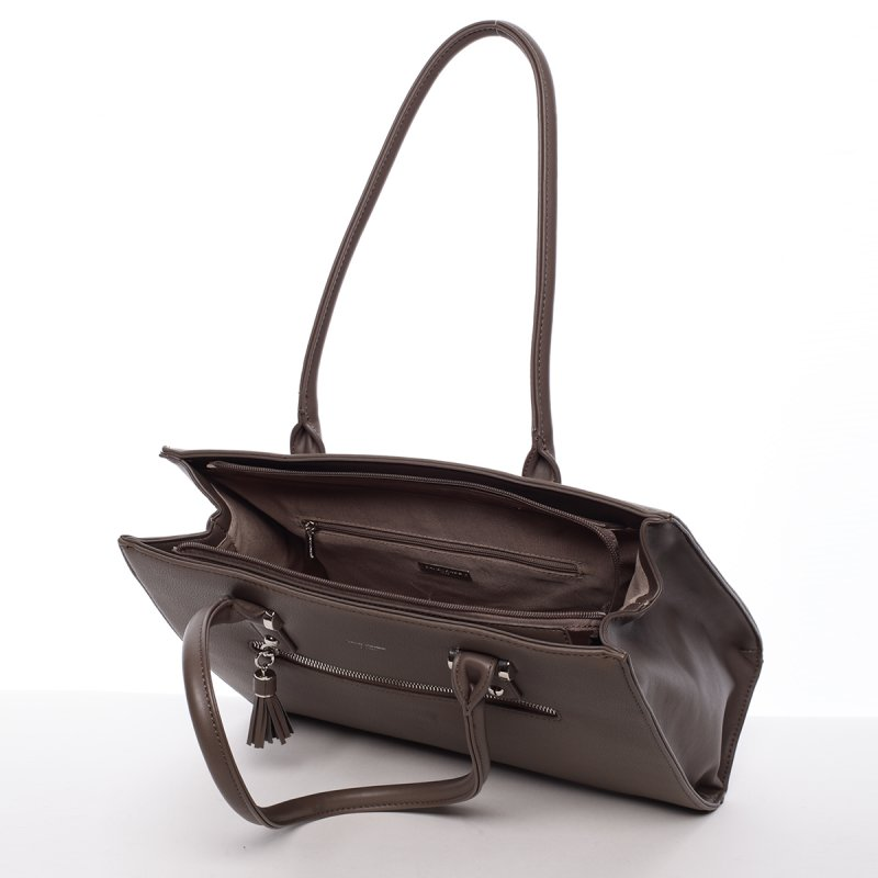 Originální dámská kabelka přes rameno Eugenie, hnědá/zelená