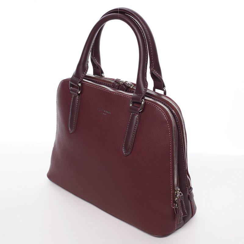 Decentní dámská kabelka se dvěma zipy Elisabeth, vínová