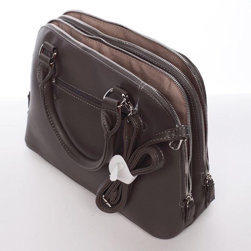 Decentní dámská kabelka se dvěma zipy Elisabeth, šedá