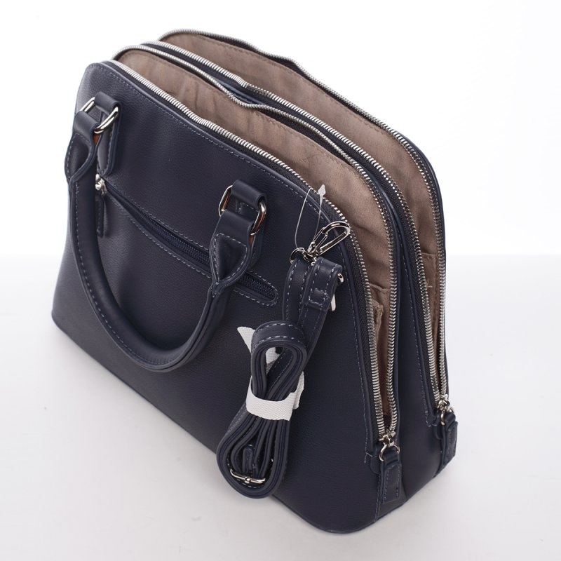 Decentní dámská kabelka se dvěma zipy Elisabeth, tmavě modrá
