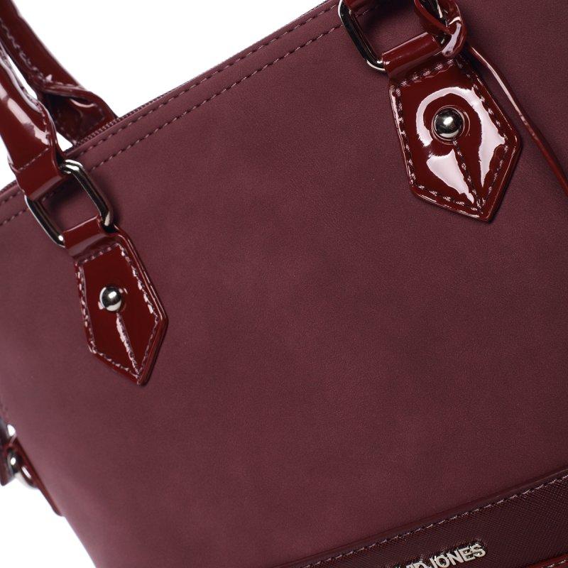 Vkusná lesklá dámská kabelka Brigitte, vínově červená