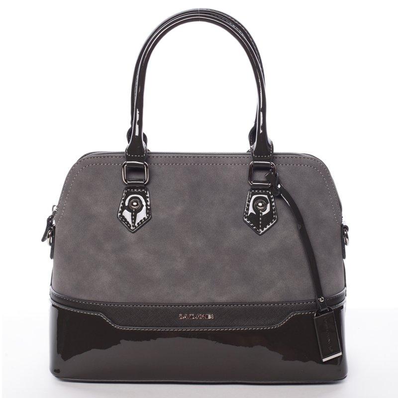 Vkusná lesklá dámská kabelka Brigitte, tmavě šedá