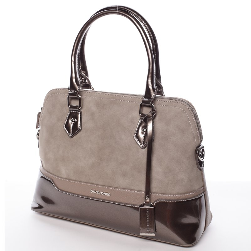 Vkusná lesklá dámská kabelka Brigitte, krémová/zlatá