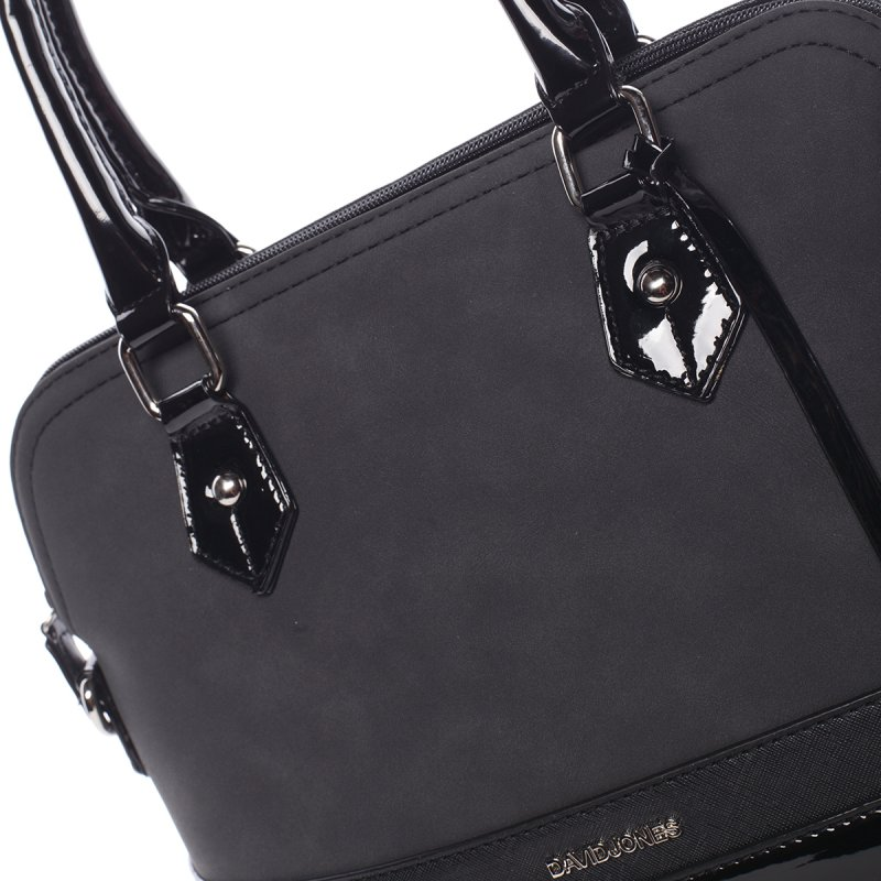 Vkusná lesklá dámská kabelka Brigitte, černá