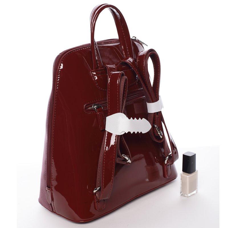 Lesklý dámský batoh David Jones Angela, vínově červený