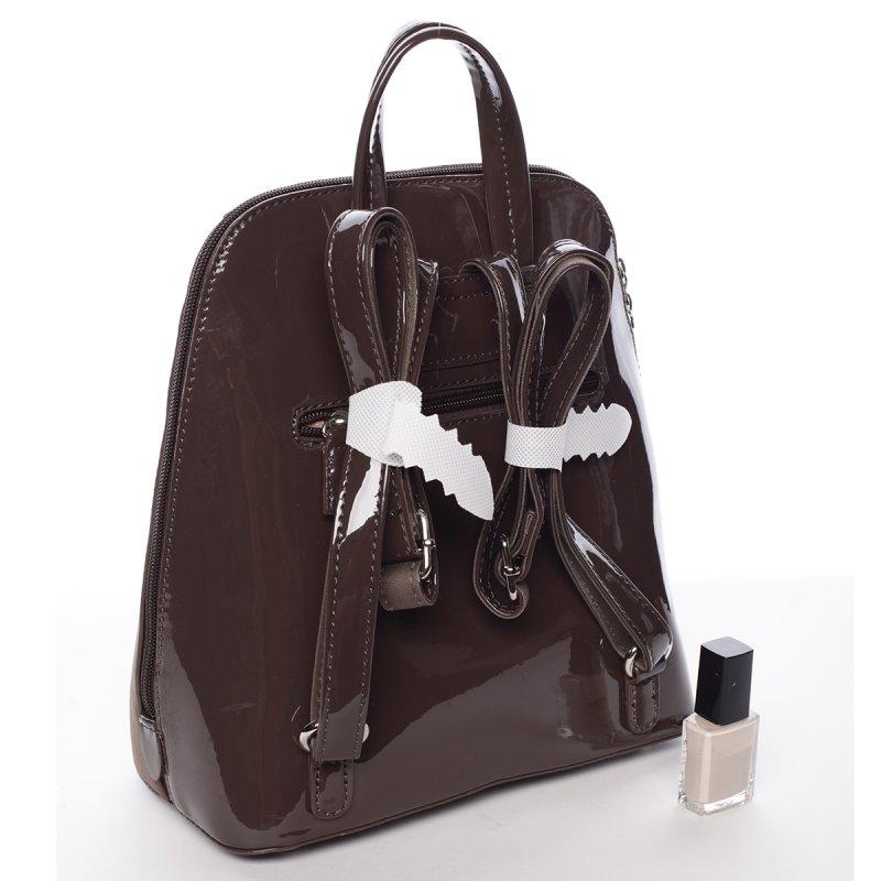 Lesklý dámský batoh David Jones Angela, tmavě hnědý