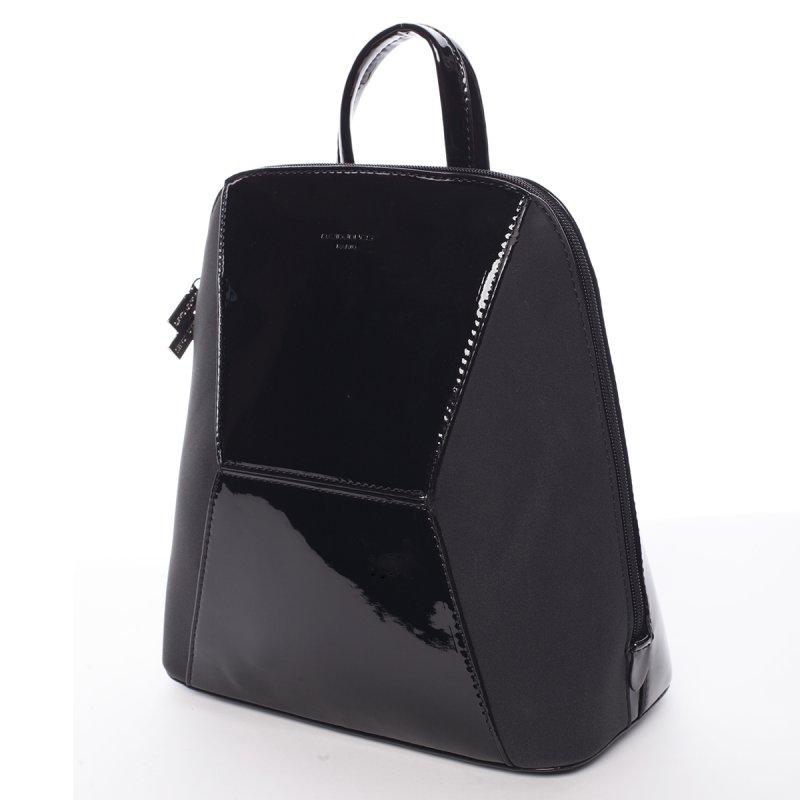 Lesklý dámský batoh David Jones Angela, černý