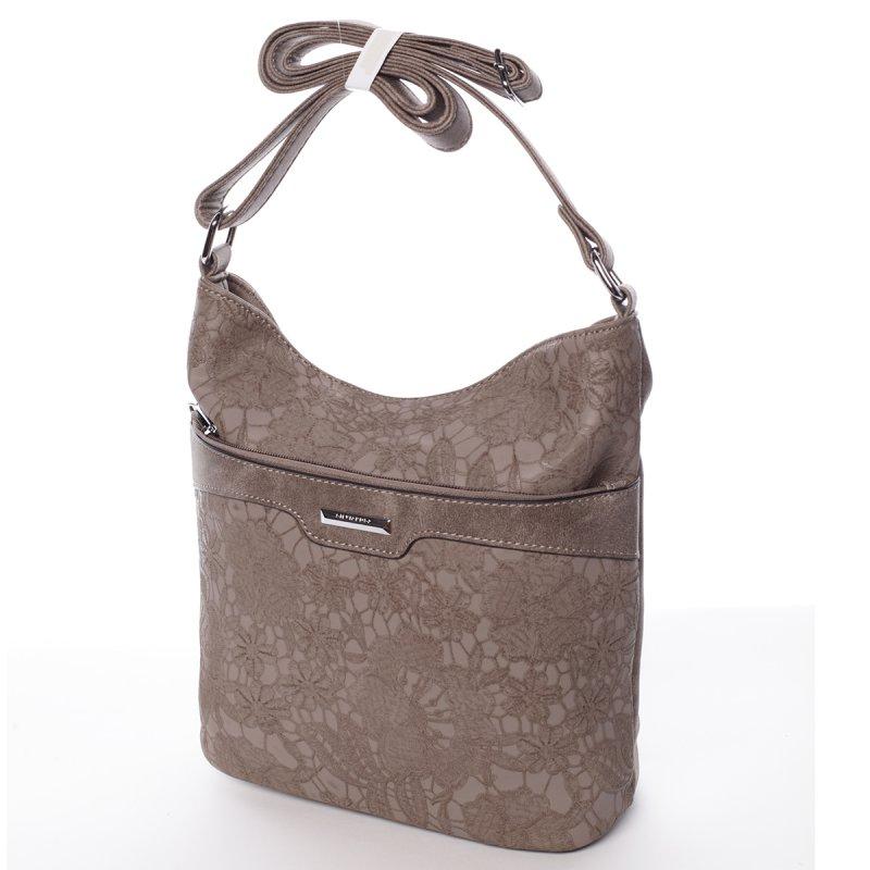 Květinová dámská crossbody kabelka Bianca, šedá/hnědá