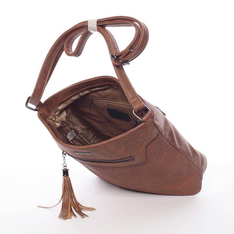 Hladká elegantní dámská crossbody kabelka Rachel, tmavě hnědá