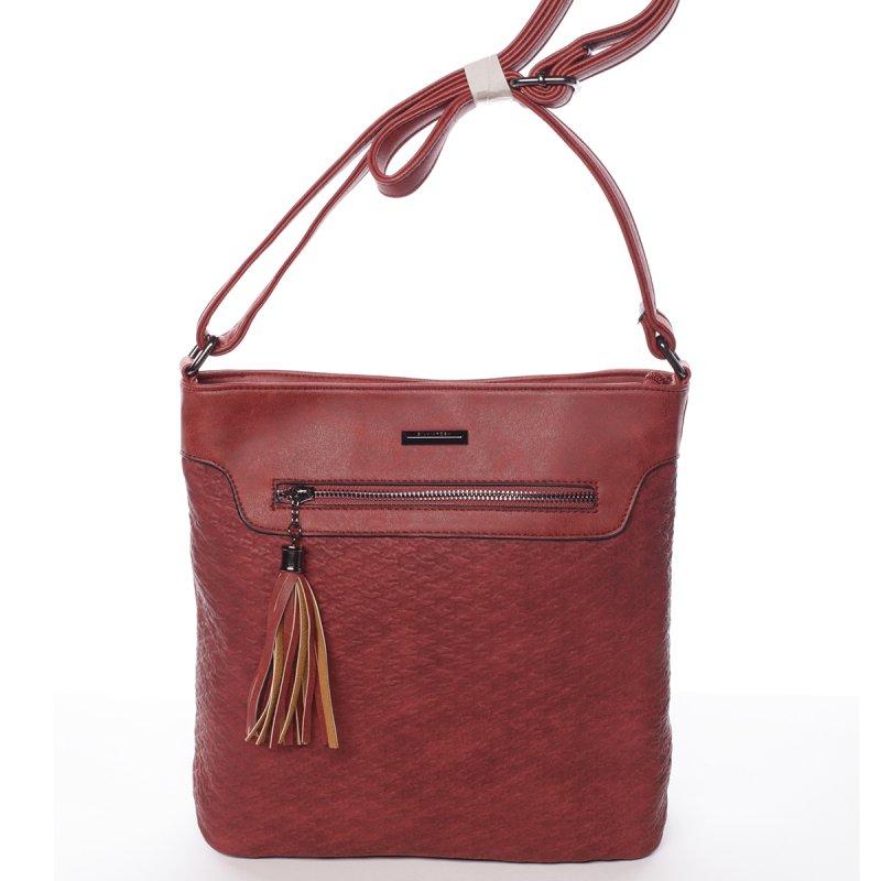 Hladká elegantní dámská crossbody kabelka Rachel, červená