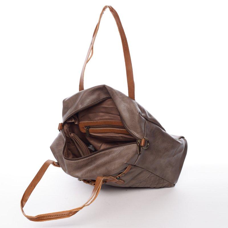 Moderní dámská kabelka Michele, šedá/hnědá