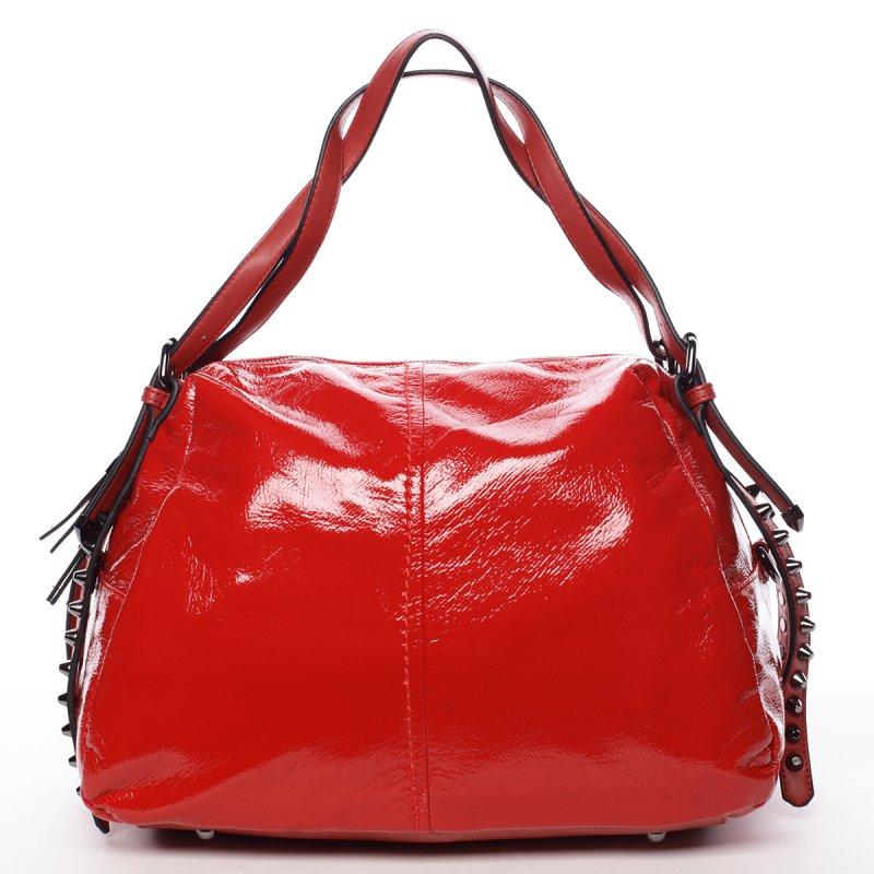 Lesklá dámská kabelka Betania, červená
