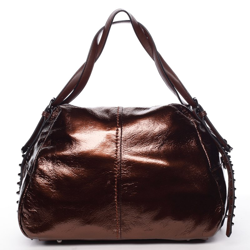 Lesklá dámská kabelka Betania, zlatá