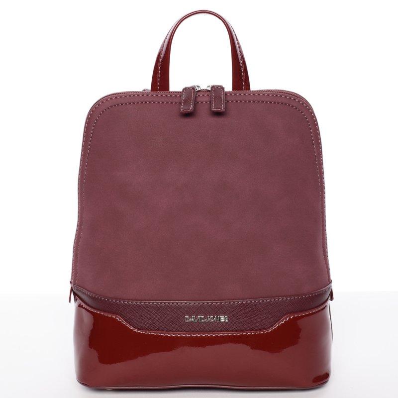 Semišový městský dámský batoh David Jones, vínově červený