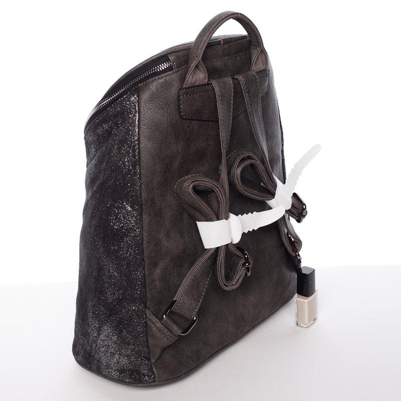 Netradiční dámský batoh Daria, stříbrný/šedý