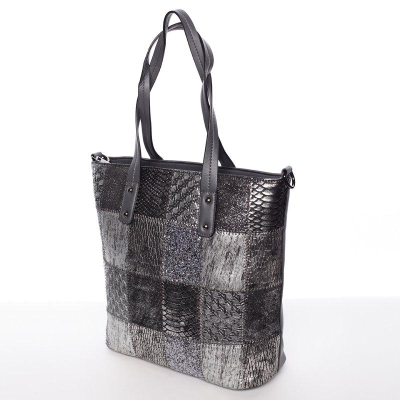 Vzorovaná dámská kabelka s dlouhým uchem Patricie, šedá