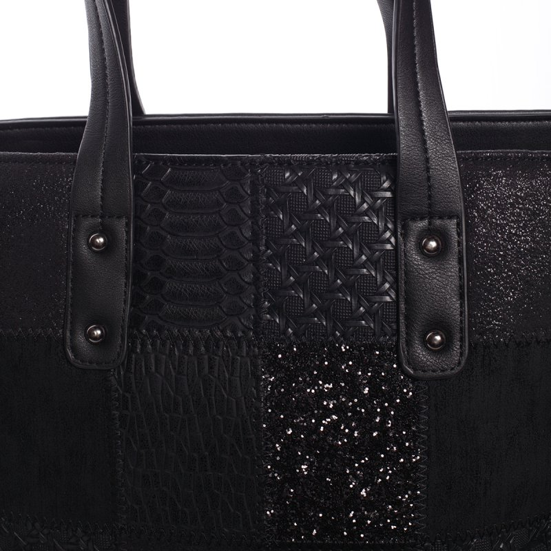 Vzorovaná dámská kabelka s dlouhým uchem Patricie, černá