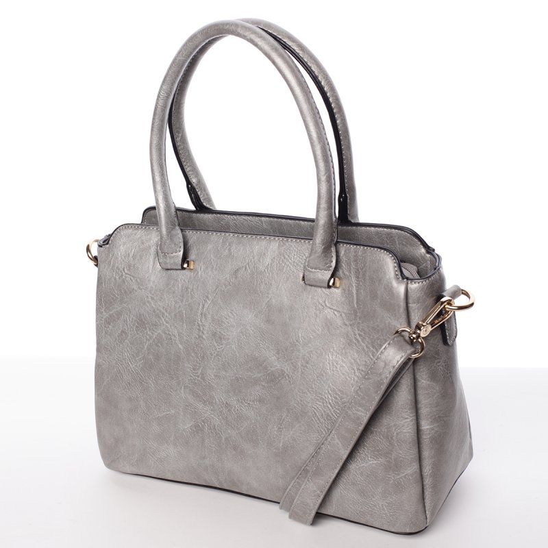 Atraktivní kvalitní dámská kabelka Bianka, stříbrná