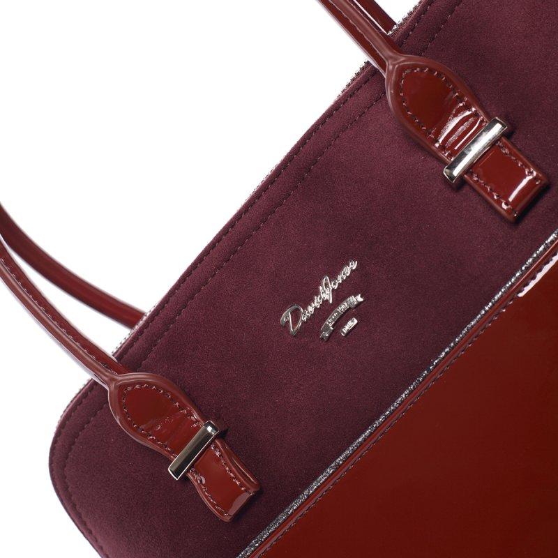 Lesklá dámská kabelka do ruky Sofie, vínově červená