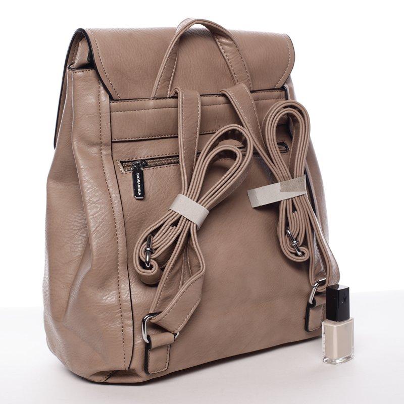 Krémově hnědý elegantní dámský batoh Valerie