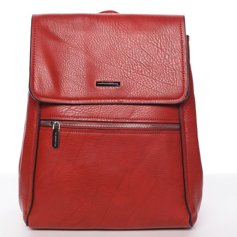 Červený elegantní dámský batoh Valerie