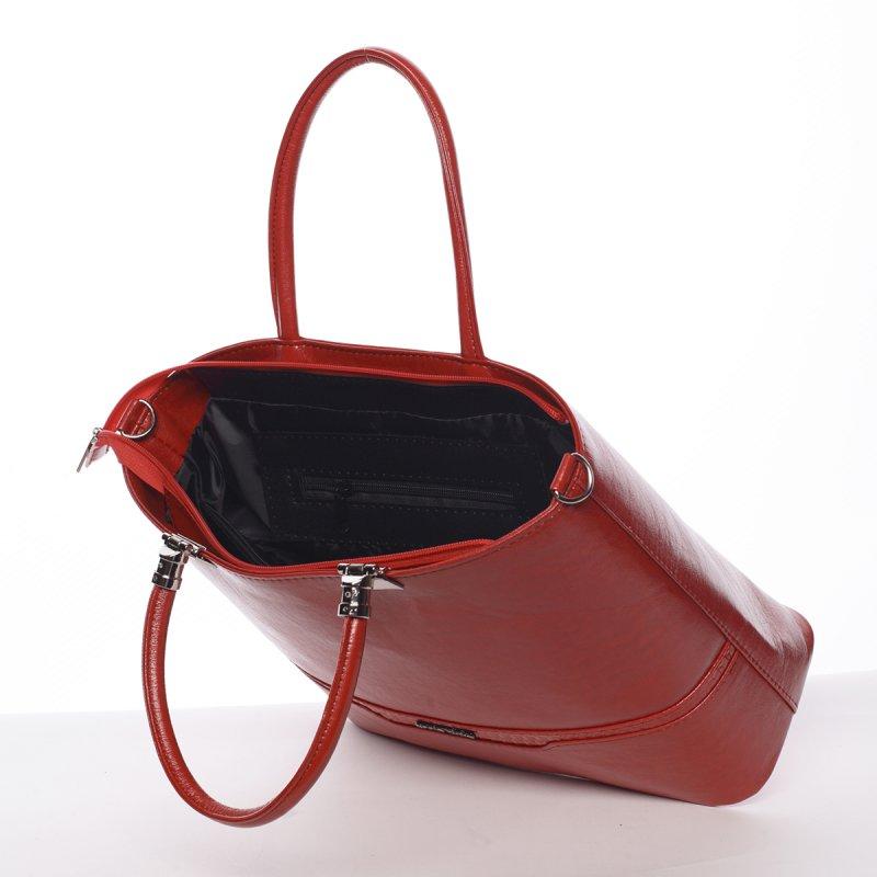 Červená pevná dámská kabelka Charlie