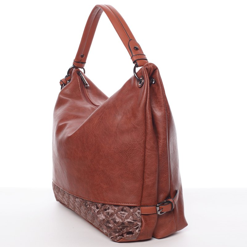 Hladká dámská kabelka Estela, hnědá