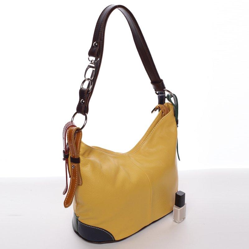 Dámská kožená kabelka Andrea, žlutá/hnědá
