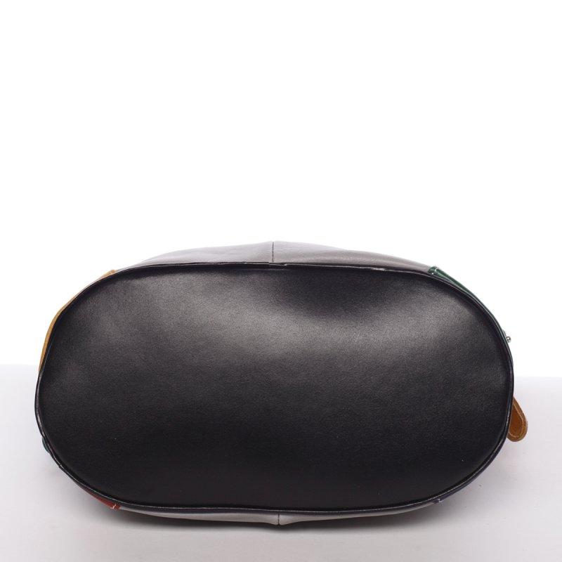 Dámská kožená kabelka Andrea, šedá/hnědá