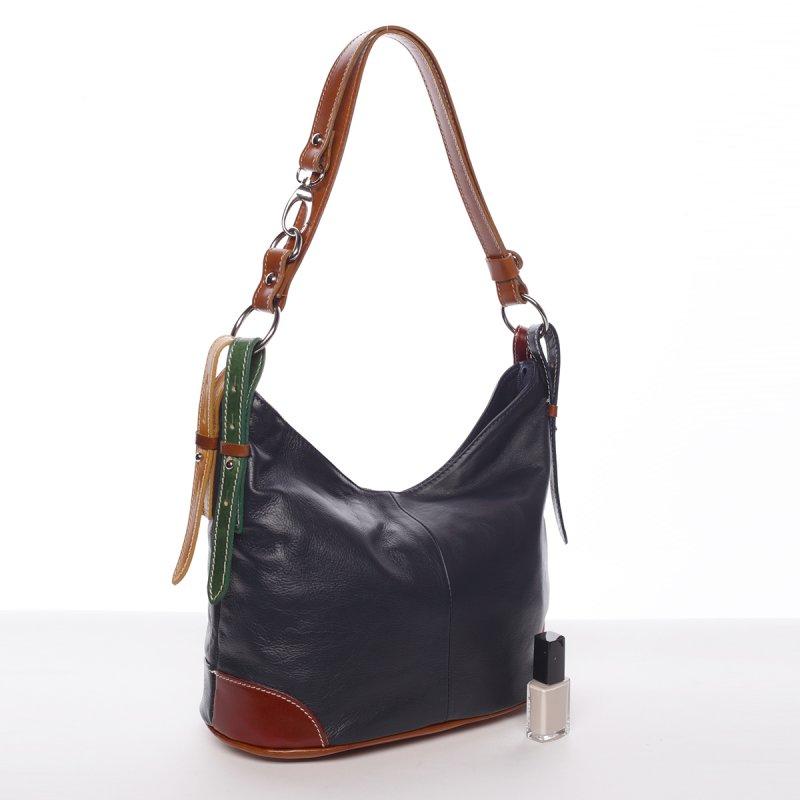 Dámská kožená kabelka Andrea, modrá/hnědá
