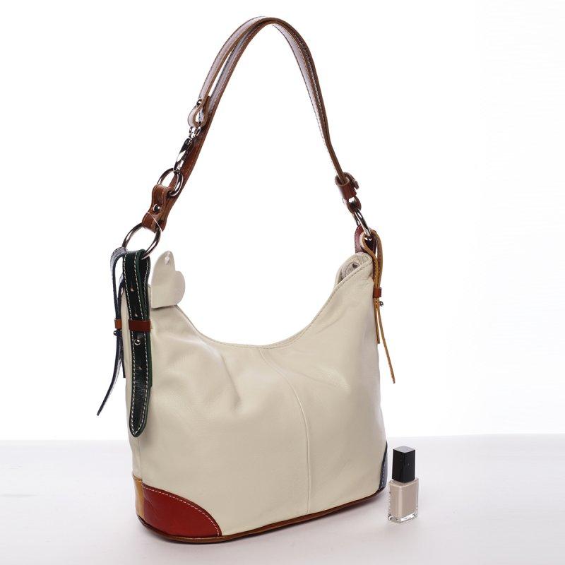 Dámská kožená kabelka Andrea, béžová/hnědá