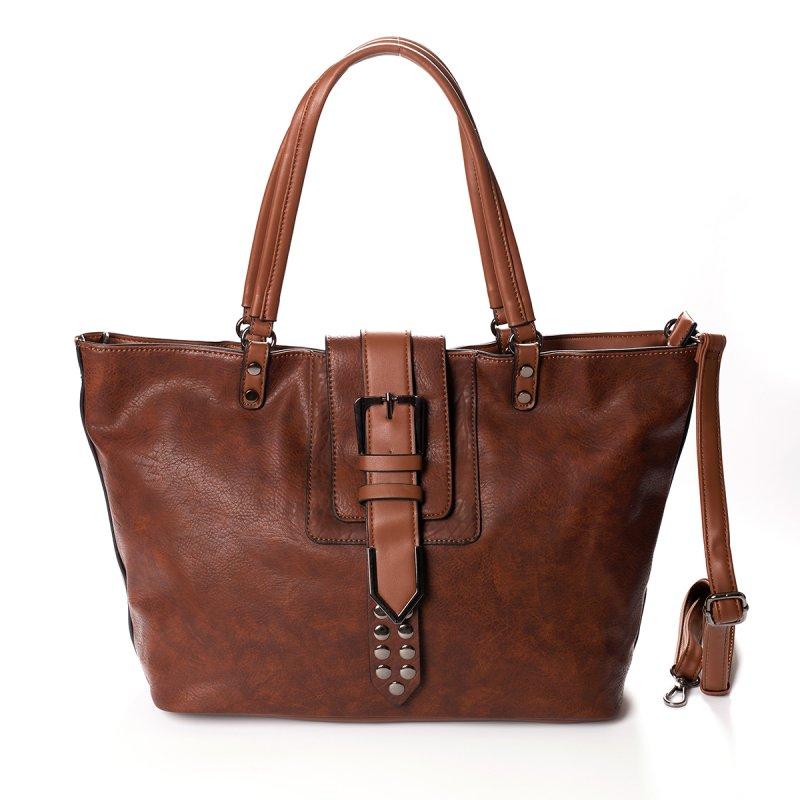 Módní velká dámská kabelka Joana, hnědá