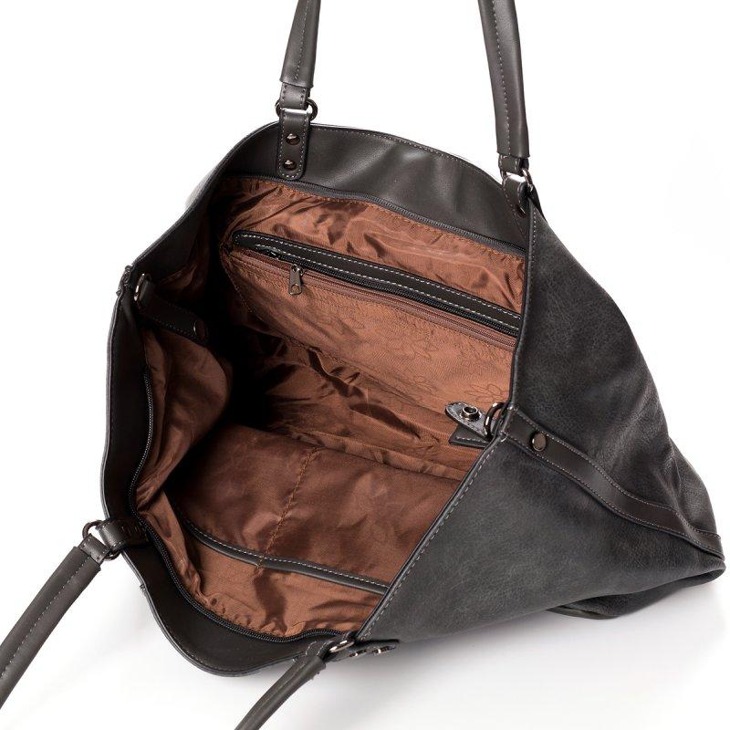 Módní velká dámská kabelka Joana, šedá
