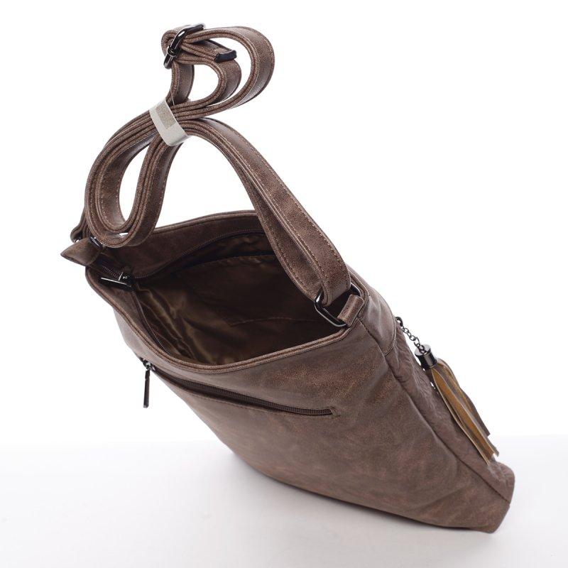 Krémová/hnědá dámská crossbody kabelka Robel