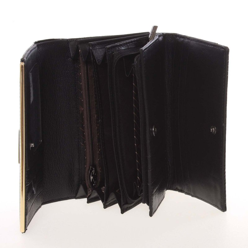 Lesklá dámská peněženka, černá