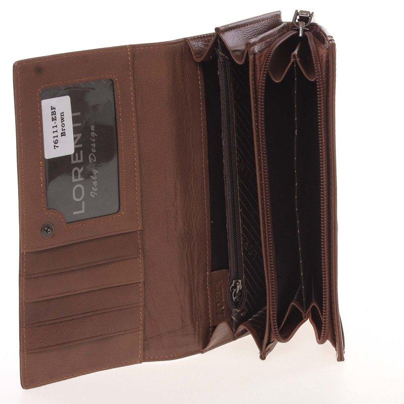 Hnědá kožená dámská peněženka, Ariela