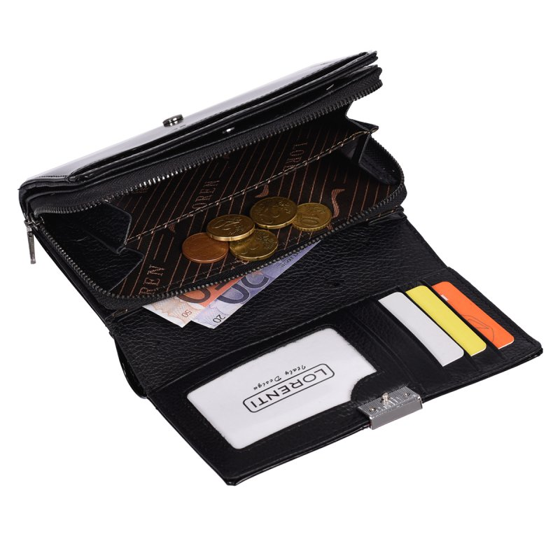 Lesklá dámská peněženka Lorenti, černá