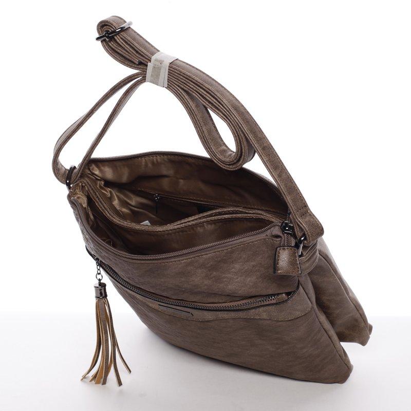 Trendy dámská crossbody kabelka Thalie, hnědá/šedá