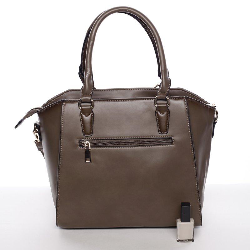 Pevná business dámská kabelka Vanesa, hnědá/zelená