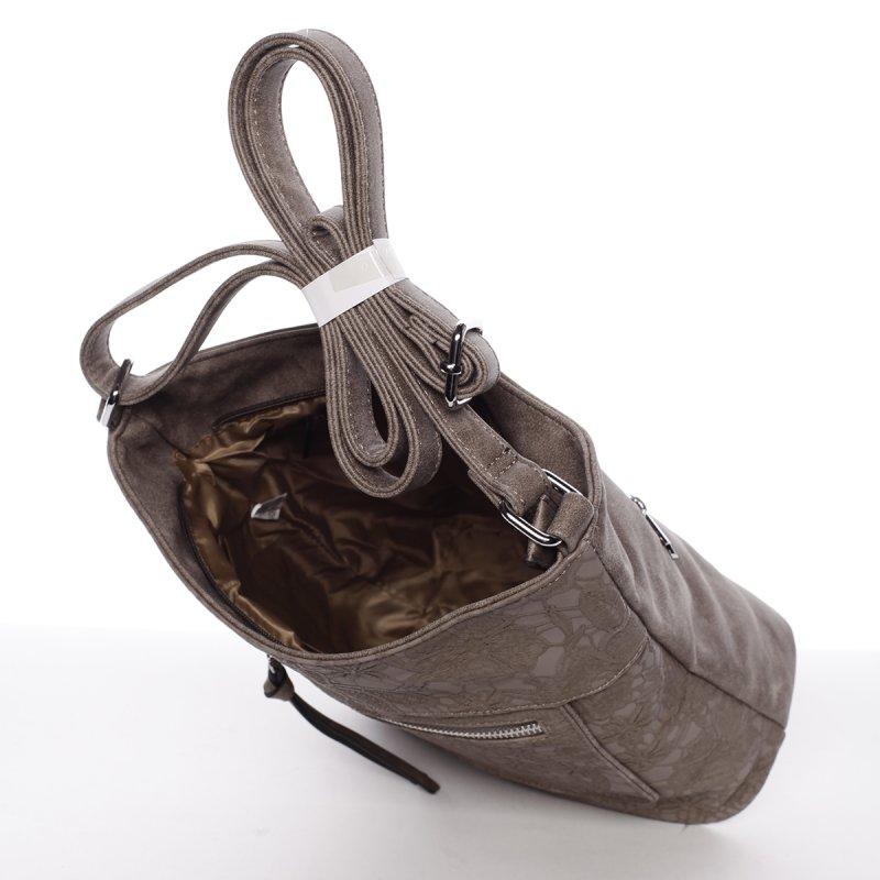 Krajková dámská crossbody kabelka Rita, šedá/hnědá
