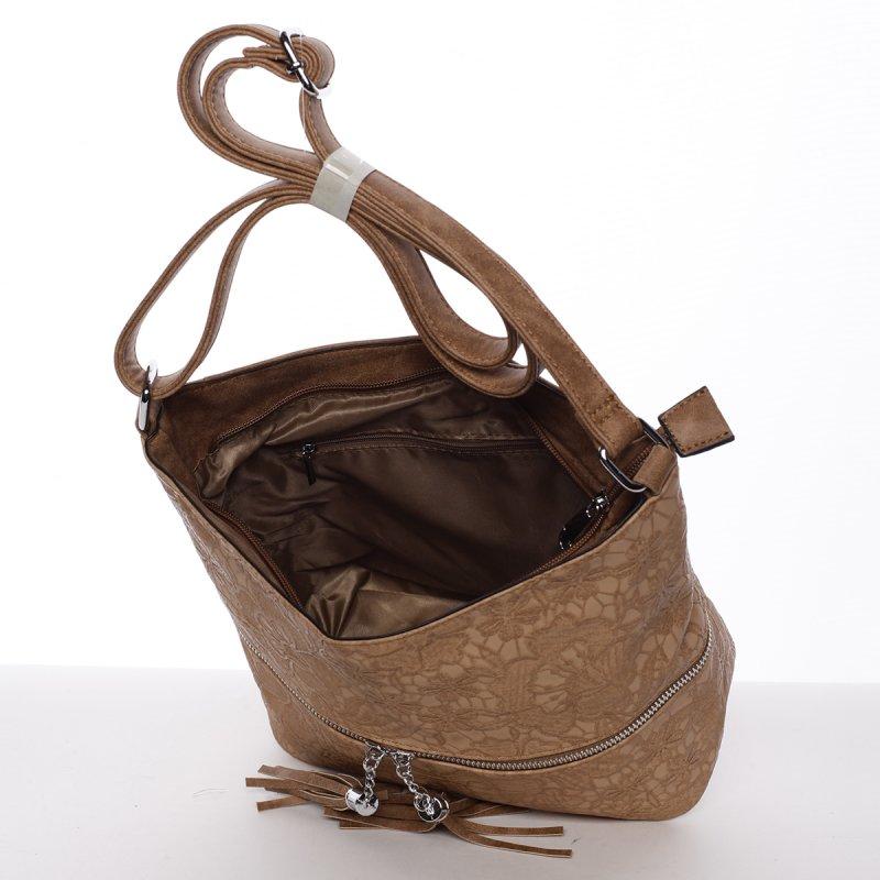 Nevšední dámská crossbody kabelka Sarah, hnědá