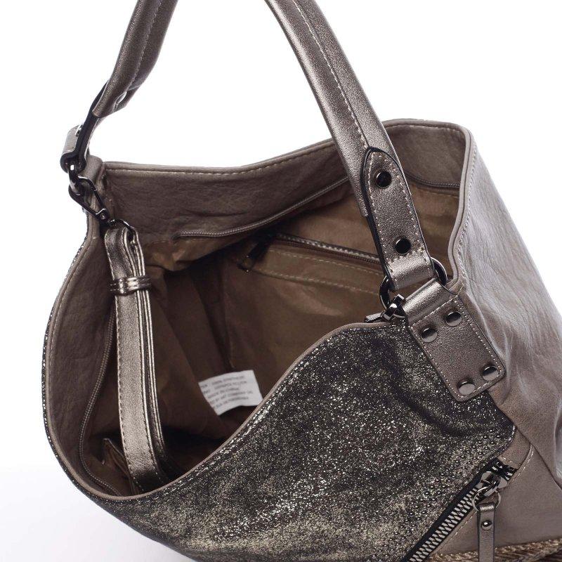 Měkká dámská kabelka Debora, zelená/hnědá