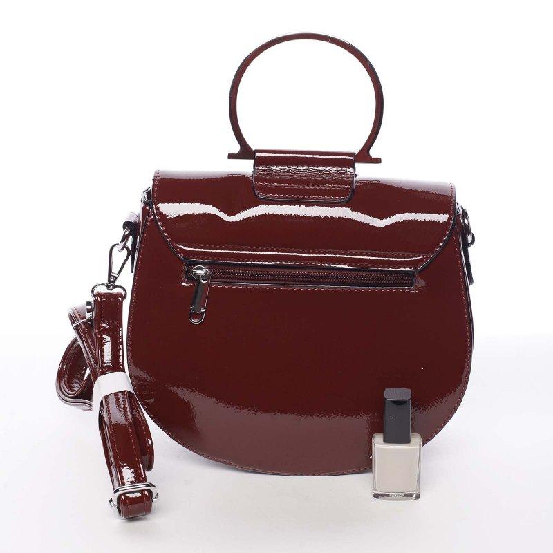 Lakovaná dámská crossbody kabelka Paula, vínově červená