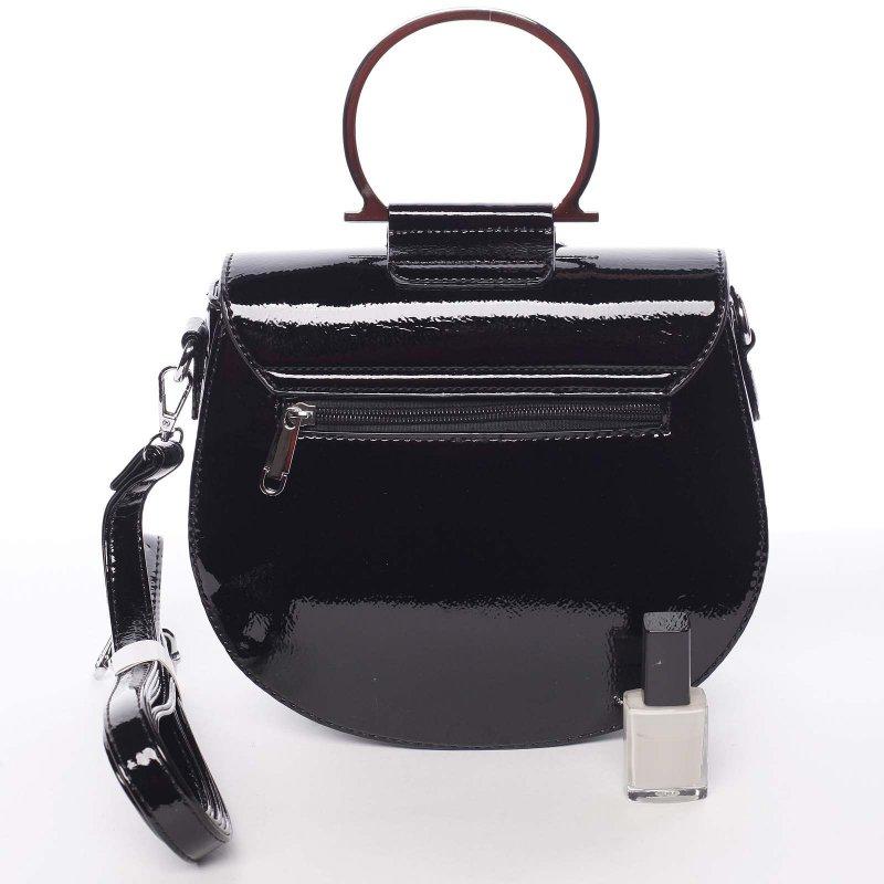 Lakovaná dámská crossbody kabelka Paula, černá