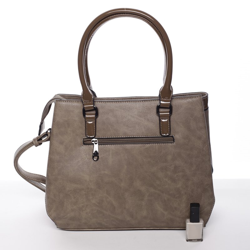 Moderní dámská kabelka Kornel, šedá/hnědá