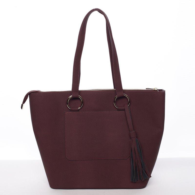Trendy dámská kabelka do ruky Charlotta, vínově červená
